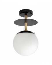 Lampa Przysufitowa / Plafon Z Mosiądzem PLAAT B Czarna Ummo